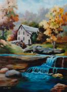 Grist Mill Paintings - Glade Creek Mill by Brenda Thour