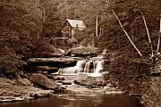Flowing Prints - Glade Creek Mill in Sepia Print by Tom Mc Nemar