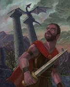 Roman Ruins Digital Art Posters - Gladiator Warrior With Monster On Pillar Poster by Martin Davey