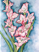 Gladiola Paintings - Gladiola painting by Linda Wells
