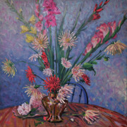 Gladiolas Painting Framed Prints - Gladiolas and Dahlias Framed Print by Donald Maier