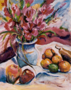Gladiolas Paintings - Gladiolas by Ingrid Dohm