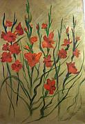 Gladiolas Paintings - Gladiolas  by Jace Miley