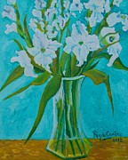 Gladiolas Painting Prints - Gladiolas on blue Print by Pilar Rey de Castro