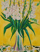 Gladiolas Paintings - Gladiolas on yellow by Pilar Rey de Castro