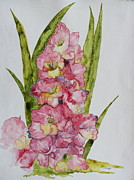 Nature Study Painting Metal Prints - Gladiolas Metal Print by Patsy Sharpe