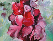 Life Framed Prints Originals - Gladioli by Alicja Coe