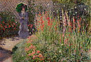 Umbrella Paintings - Gladioli by Claude Monet