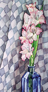 Gladiola Paintings - Gladioli in Blue Bottle Painting by Linda Wells