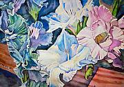 Gladiolas Prints - Glads on the Deck Print by June Conte  Pryor