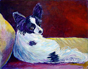 Glamor Painting Framed Prints - Glamor - Papillon Dog Framed Print by Lyn Cook