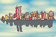 New York Mixed Media Metal Prints - Glamorous N Y Metal Print by Wolfgang Karl