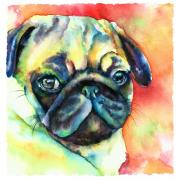 Tan Dog Prints - Glamour Pug Print by Christy  Freeman