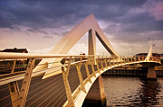 Glasgow Scotland Cityscape Prints - Glasgow Squiggly Bridge. Scotland Print by Jenny Rainbow