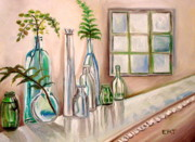 Water Jars Painting Metal Prints - Glass and Ferns Metal Print by Elizabeth Robinette Tyndall