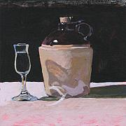 Glass Table Reflection Painting Metal Prints - Glass and Jug Metal Print by Robert Bissett