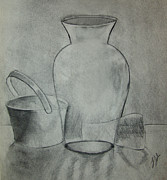 Early Drawings Prints - Glass and Metal Drawing Print by Lj Lambert