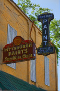 Old Signs Prints - Glass and Paint Print by Andrew Armstrong  -  Orange Room Images