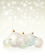 December Framed Prints - Glass baubles pastel Framed Print by Jane Rix