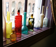 Old Glass Prints - Glass Bottles in Window Print by Marilyn Hunt