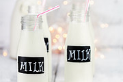 Straws Prints - Glass Bottles of Milk Print by Stephanie Frey