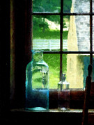 Windowsills Posters - Glass Bottles on Windowsill Poster by Susan Savad