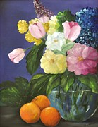 Glass Bowl Posters - Glass bowl and oranges Poster by Carol Sweetwood