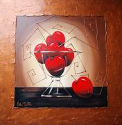 Original Prints - Glass bowl of cherries Print by Lori McPhee
