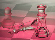 Table Top Framed Prints - Glass Chess Pink Framed Print by Joris Shaw