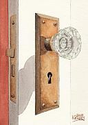 Knob Painting Posters - Glass Door Knob and Passage Lock Revisited Poster by Ken Powers
