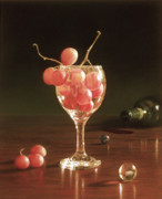 Dark Wood Table  Prints - Glass Grapes and Marbles Print by Barbara Groff