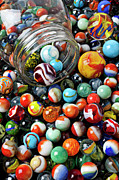 Plaything Metal Prints - Glass jar and marbles Metal Print by Garry Gay