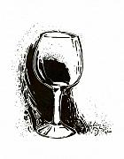 White Wine Drawings Framed Prints - Glass Framed Print by Julianna Ziegler