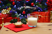 Christmas Eve Framed Prints - Glass of milk and a mince pie for Santa Framed Print by Richard Thomas