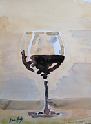 Merlot Posters - Glass of Red Wine 1 Poster by Lowen Hardy
