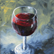 Red Wine Painting Originals - Glass of Red Wine II by Torrie Smiley