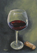 Wine Glass Paintings - Glass of Sweet Red by Torrie Smiley