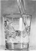 Glass Drawings Originals - Glass of water by Carl Moore