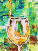 Pouring Wine Painting Framed Prints - Glass of White Framed Print by Lisa Owen-Lynch