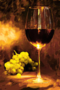Wine Illustrations Framed Prints - Glass of Wine and Green Grapes by Candlelight Framed Print by Elaine Plesser