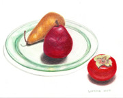 Food And Beverage Drawings Originals - Glass Plate by Loraine LeBlanc