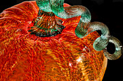 Season Glass Art Metal Prints - Glass Pumpkin   Metal Print by Alexandra Jordankova