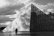 Attraction Posters - Glass pyramid. Louvre. Paris.  Poster by Bernard Jaubert