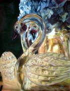 Swans... Pastels Prints - Glass Swans Print by Janice Lawrence