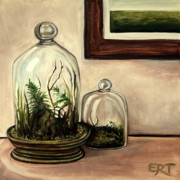 Glass Oil Dish Posters - Glass Terrariums Poster by Elizabeth Robinette Tyndall