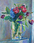 Cut Flowers Paintings - Glass Vase on Sill by David Lloyd Glover