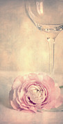 Watercolor Photo Posters - Glass with flower Poster by Kristin Kreet