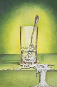 Featured Drawings Posters - Glass with Melting Fork Poster by Melissa A Benson