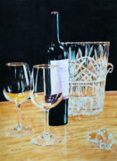 Ice Wine Painting Posters - Glass Wood and Light and Wine Poster by Mary Lou Hall