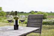 Overcast Day Prints - Glasses And A Bottle Of Red Wine On An Outdoor Setting Print by Halfdark